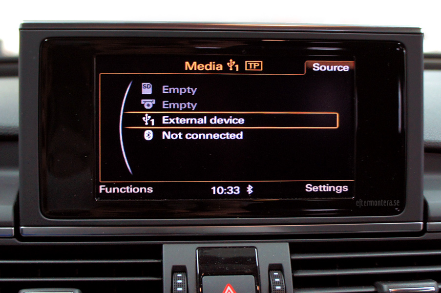 Audi AUX, AMI, iPod, iPhone, A2DP (Bluetooth) / eftermontering