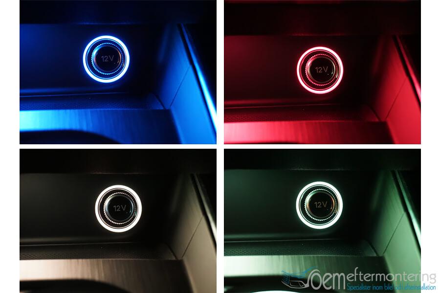 Ambient belysning på 12v uttag audi original