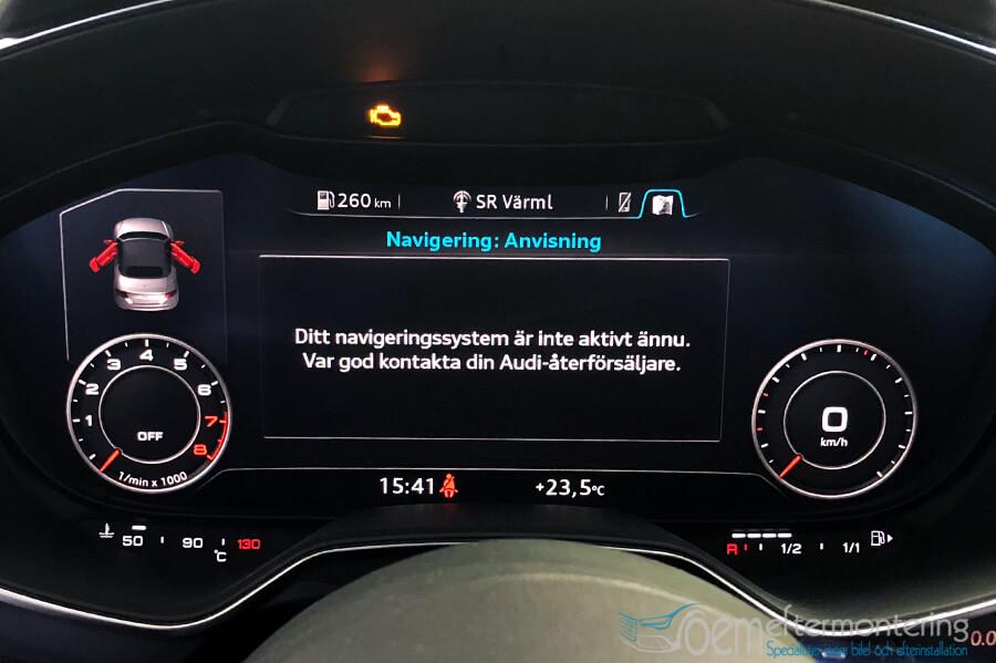 Ditt navigeringssystem är inte aktivt ännu. Var god kontakta din Audi-återförsäljare.